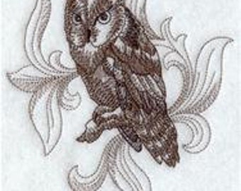 Embroidered Flour sack towel pair Great Gift! Baroque Screech Owl Sketch design -