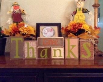 Decorative Block Letters / Home Decor / Wood Letters / Fall Decorations / Decorative Letters / Autumn Decorations/ Thanksgiving Decorations