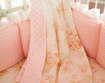 Baby Girl Crib Bedding: Pink Floral Crib Blanket by Carousel Designs