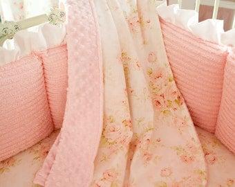 Crib blanket | Etsy : pink crib quilt - Adamdwight.com