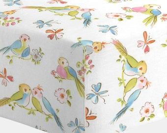 Girl Baby Bedding : Love Birds Crib Sheet by Carousel Designs