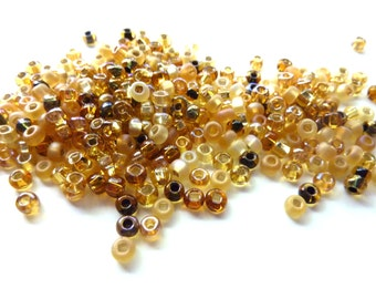 6/0 Czech glass e-beads topaz mix seed beads