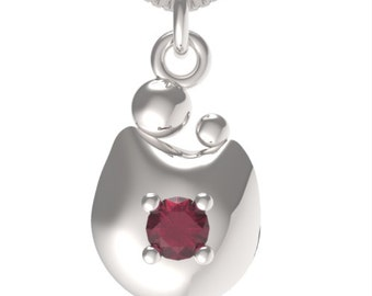 """Birthstone January Garnet Sterling Silver MOM&CHILD pendant with an 18"""" Sterling Silver Necklace"""