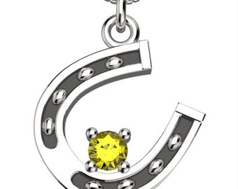 Birthstones Horse Shoe November Topaz Pendant with 18' Necklace