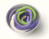 Lavender Skinny scarf / Crochet jewelry / extra long necklace / bright spring colors / Cream, purple, lilac and lime green