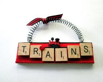 Love Trains Scrabble Tile Ornament