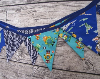 Blue Fabric Bunting ~ Boys Room Banner ~ Playroom Flags ~ Blue Pennant Flags ~ Party Decor ~ Celebration Banner ~ Photo Prop