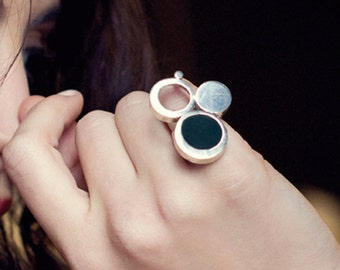 Triple Ring, Modern Gemstone Ring, Contemporary Jewelry