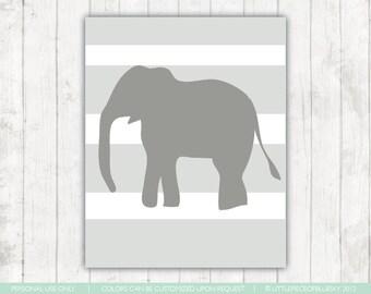 Elephant Print_8x10 or 11x14. Giraffe and Elephant_ Blue and White Strips_ Nursery Decor