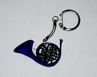 Blue French Horn Keychain Charm
