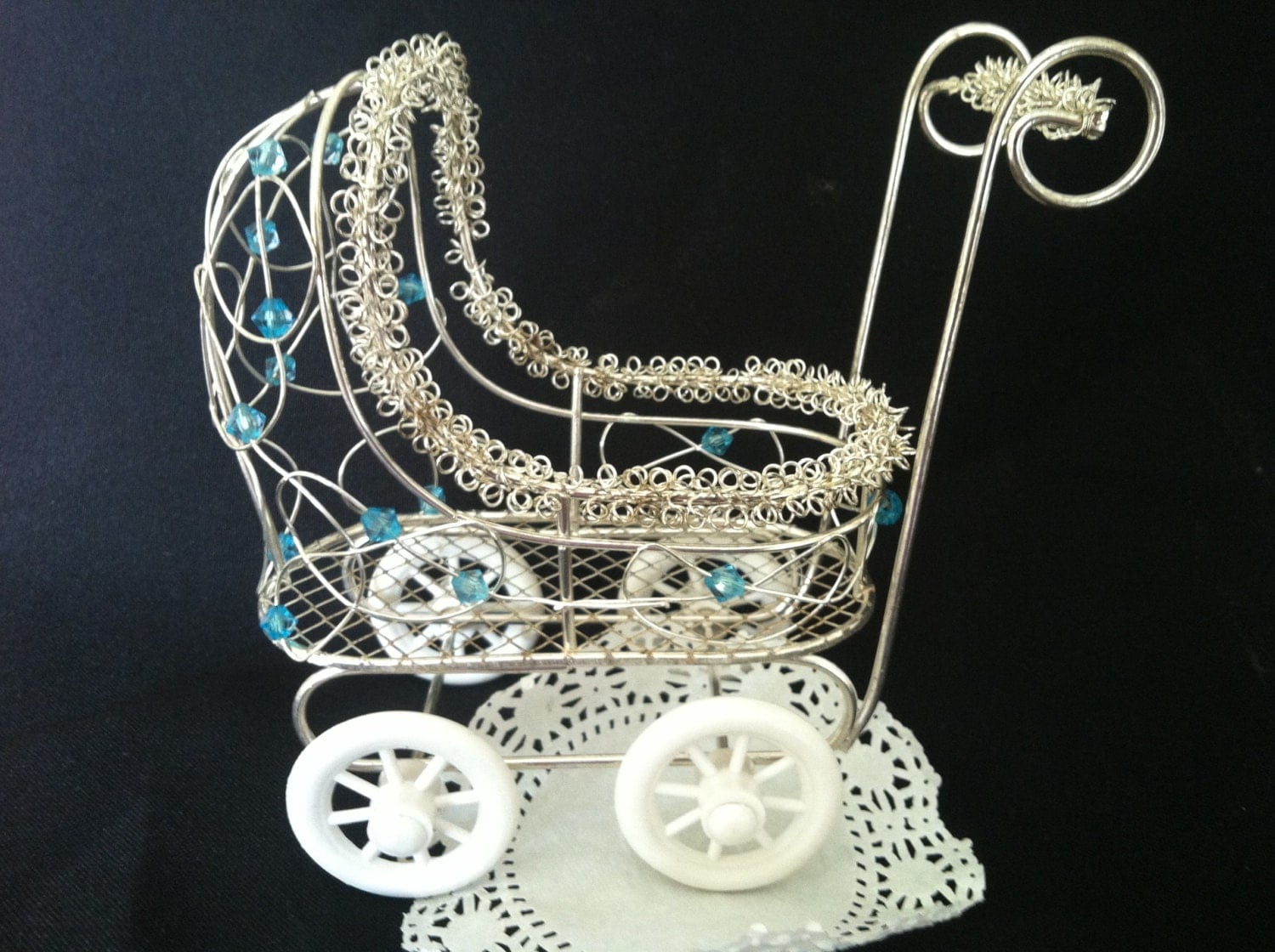 Vintage baby carriage centerpiece baby shower by for Baby carriage decoration