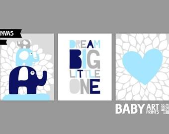 Baby Boy Nursery canvas art, Set of 3 8x10. Heart, Elephants, Dream Big Little One ( S810027 )