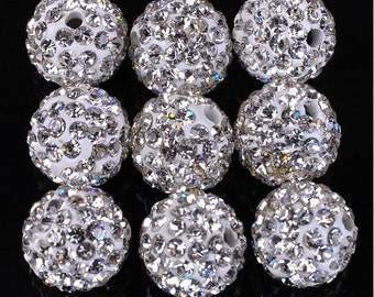 10Pcs 10mm Polymer Clay with Clear Rhinestone Bead Pave Disco Crystal Ball Beads Spacer Findings