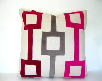 Pink Pillow -  Fuchsia and Gray Velvet Applique Pillow Cover
