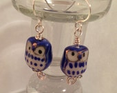 Blue, white, and silver owl earrings. Handmade hooks and headpins.