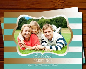 Holiday Photo Card with Gold and Teal Stripes - Modern, Christmas, Printable, Digital
