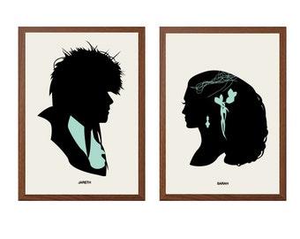 LABYRINTH | Jareth + Sarah Poster : Modern Illustration Retro Art Wall Decor