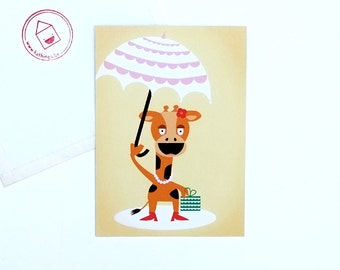"funny cute giraf with umbrella postcard ""Madame La Giraffe"" - girls party - sunny birthday card or invitation - card for all occasions - eco"