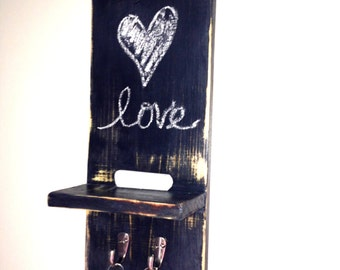 Rustic Chalkboard Shelf with Hooks