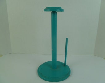 Teal Blue Painted Wood Paper Towel Holder Beach Decor