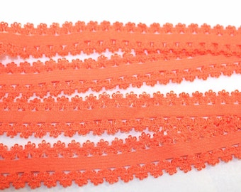 2cm Orange Elastic Lace Trim 3 Yards #E008