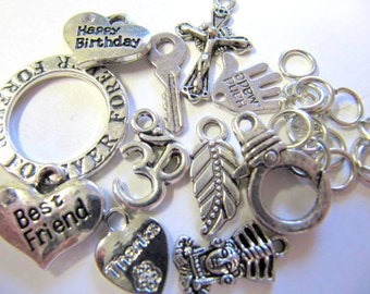 Charms, Assorted Styles, 12 Piece, Silver Color, Charm Kit, Friends, Family, Birthday, Jump Rings Included