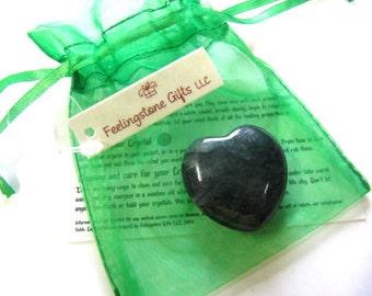 Gemstone Hearts, 30 MM, Puffy, Moss Agate, Chakra, Reiki, Yoga, Feng Shui, Healing, Gift Set