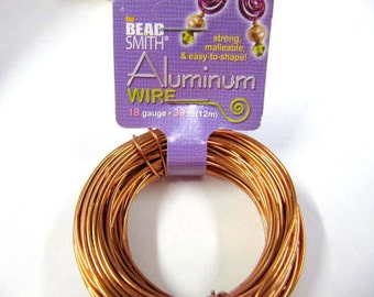 Aluminum Wire 18 Gauge Round Wire, Copper, 39 Feet, Beadsmith, Craft Wire, Strong, Malleable, Easy to Shape