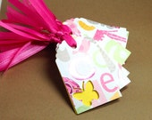 Gift Tags 12 pack Baby shower Yellow Butterfly design sized at 1 1/2 x 2 1/2