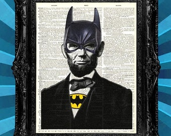 Dictionary Page Art Print Lincoln-is-Batman. Unique art print on upcycled vintage dictionary page book art print - dictionary page prints