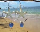 Sea glass, starfish earings