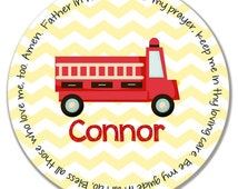 Personalized Melamine Plate - Personalized Kids Plate - Personalized Childrens Plate - Prayer Plate - Personalized Baptism Gift - Fire Truck