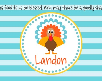 Personalized Placemat - Kids Placemat - Childrens Placemat - Prayer Placemat - Thanksgiving Placemat - Turkey Boy