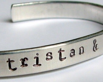 Mother's Day personalized, hand-stamped aluminum cuff bracelet.