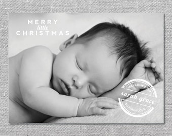 Photo Holiday Card | DIY Printable or Printed | Merry Little Christmas | Baby's First Christmas | Birth Announcement | 5x7