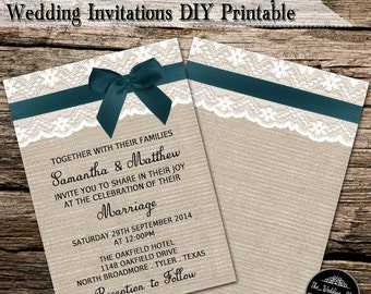 Teal Ribbon With Bow On Romantic Lace & Rustic Burlap Wedding Invitations DIY Printable PDF