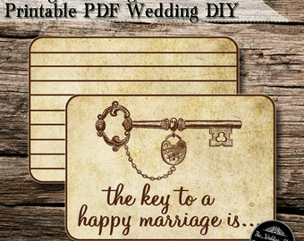 Instant Download- The Key To A Happy Marriage: Vintage Wedding Advice Cards DIY Printable JPEG PDF
