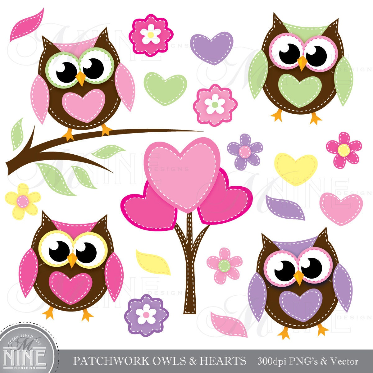 PATCHWORK OWLS & HEARTS Digital Clipart Clip Art Instant