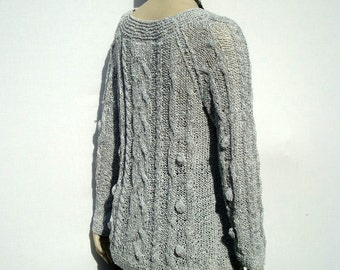 Hand Knit Sweater-Sweater Cotton Top-Cable Knit Sweater-Womens