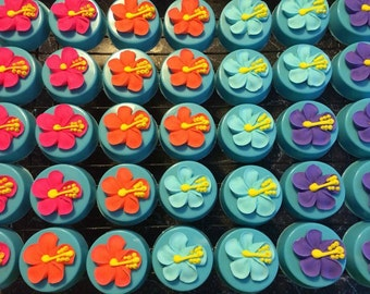 12 Luau Chocolate Covered Oreo Oreos Hibiscus Flowers Party Favors Wedding Birthday Beach