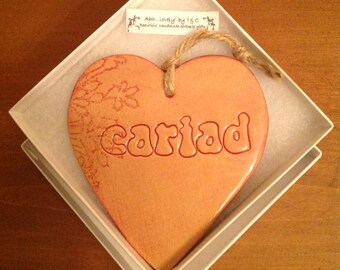 Cariad (Love in Welsh) hanging ceramic gift/decorative item handmade in Wales