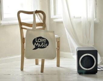 BIG tote bag, LOVE MUSIC, canvas bag, beach bag, wearing on shoulder, shopping bag, shoulder bag, linen bag, tote bag with print