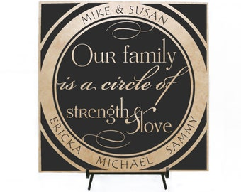 Our Family is a circle of Strength and Love - Personalized Tile, Custom Tile, Family Name Sign, Anniversary Gift, Custom Sign, Women's Gift