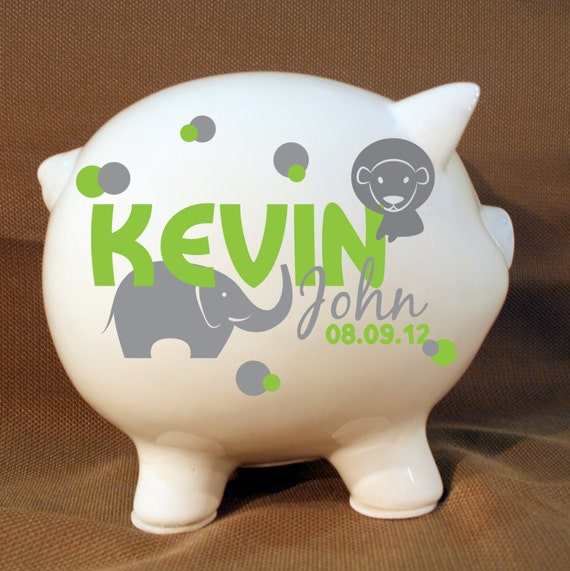 5 5 jungle animals style personalized piggy bank boys - Coin banks for boys ...