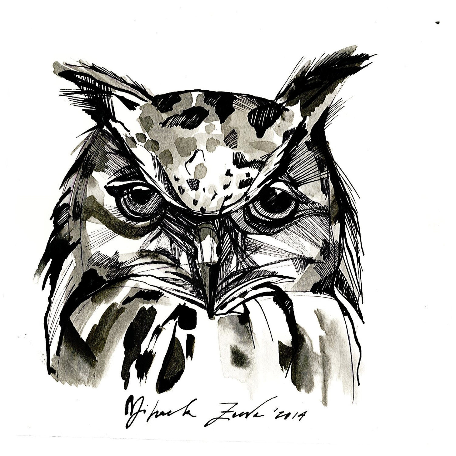 Saleoriginal ink drawing owl drawing black and white owl for Oiseau blanc et noir