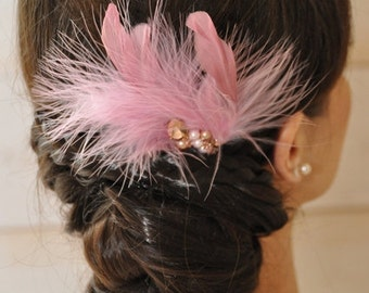 Comb for bridal feather roses and crystals