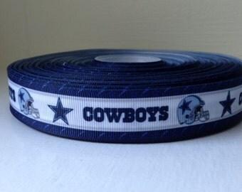 "1/3/5/7/10 Yards Dallas Cowboys 7/8"" Grosgrain Ribbon"