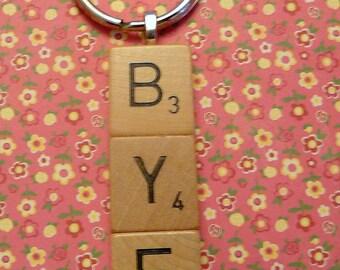 Scrabble Tile Key Chain spells BYE - Fun gift - FREE shipping
