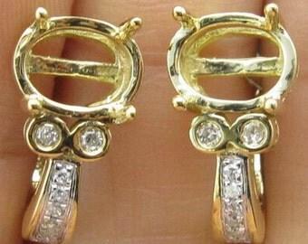 Oval Natural Diamond Semi-Mount Earrings