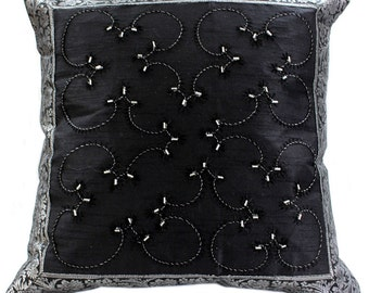 """Hand Embroidered 16"""" X 16"""" Accent Pillow Cover - Set of 2 - Mystic Black"""